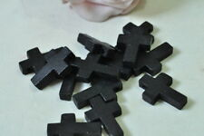 30pcs Wood Cross Charm Pendant Natural Wooden Necklace Craft Black Finished
