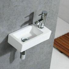 UK Small White Ceramic Mini Hand Wash Basin Compact Bathroom Cloakroom Sink New