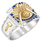 Customizable Men's Two Tone 0.925 Sterling Silver or Vermeil Past Master Ring