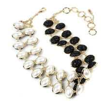 Amrita Singh Selene Black Crystal Faux Pearl Reversible Necklace NKC 998 NWT