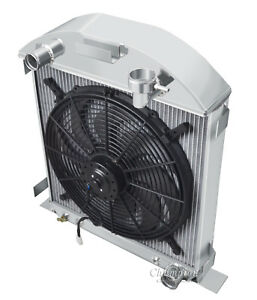 """1928-1929 Ford Model A Chevy config Aluminum 3 Row Champion Radiator & 16"""" Fan"""