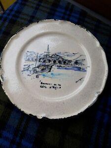 luc vallauris vintage hand painted decorative plate 25.5cm
