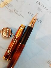 Parker 75 fountain pen brown / orange lacquer with gold trim & 14k solid gold ni
