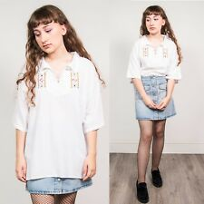 VINTAGE 70'S WHITE EMBROIDERED WOMENS BLOUSE LACE UP CREPE STYLE HIPPIE BOHO 18