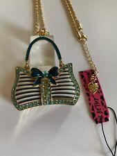 Betsey Johnson Blue Enamel Crystal Bowknot Handbag Pendant Necklace-BJ59442