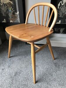 Ercol Dressing Table Stool 414. Elm Wood. Light Finish. Clean And Solid.