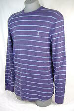 New Mens Small VOLCOM Rogan Purple Stripes Thermal Long Sleeve Shirt $35