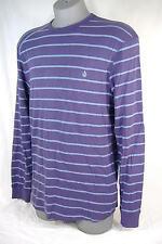 New Mens Small VOLCOM Kwort Purple Stripes Thermal Long Sleeve Shirt $35
