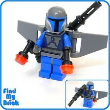 SW159 Lego Mandalorian Trooper Minifigure with Custom Aerial Backpack NEW