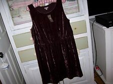 NWT$139 J.Jill Rayon/Silk Velvet Sleeveless Dress Petite  L Winterberry