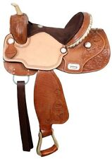 """15"""" Double T Barrel Racing Racer Suede Roughout Tooled Leather Flex Tree Saddle"""