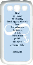 Baby Blue Infinity Symbol with John 3:16 Anchor on Samsung Galaxy S3 Case Cover