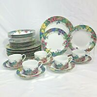 30 PC SET OF NIKKO SECRET GARDEN DINNERWARE DINNER SALAD PLATE BOWL CUP SAUCER