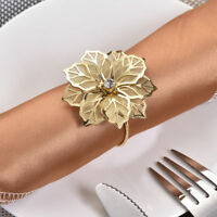 12pcs Hollow Floral Designed Napkin Ring Holder Luxurious Dinner Wedding Decor