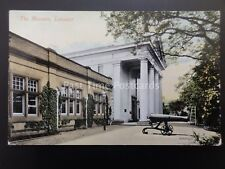 Leicester THE MUSEUM showing Canon c1912 Old Postcard by Valentine 35827