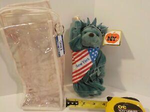 "N 1999 NEW YORK CITY Statue of Liberty Twin Towers Brown Teddy Bear 8"" Plush NYC"