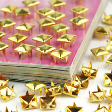 100pcs Pyramid Metal Gold Studs Spikes Spots Nailhead 8mm Square Leather Craft