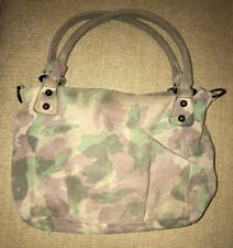 LIEBESKIND BERLIN GinaB Camo Leather Crossbody Hobo Purse Bag Green Brown