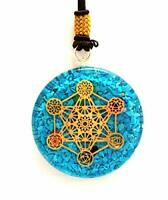 Jet Energized Turquoise Metatron Orgone Pendant Round 2 inch approx. 3rd Eye