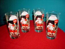 Vintage Set (4)1995 Coca Cola Krystal Christmas Glasses Santa Clause Coke Glass