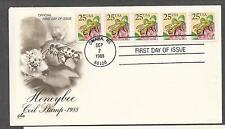 2281 Plate #2 Honeybee strip of 5 First Day Cover PNC FDC