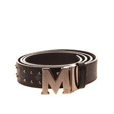 RRP €275 MCM Leather Belt Size 115/46 Studded Grainy Adjustable Blank Buckle