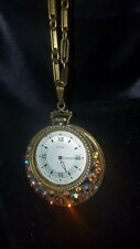 VTG Ingraham Mechanical Wind Up Watch Necklace Gold Plated, Rhinestones, RUNS