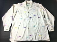 Orvis Mens White Sharks Long Sleeve Front Pocket Button Front Shirt Size XL