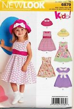 NEW LOOK SEWING PATTERN  6879 TODDLERS/GIRLS SZ ½-4 DRESSES, LACE OVERLAY OPTION
