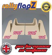 Mudflaps SUBARU FORESTER (04-08) rallyflapZ 3mm PVC White STI style logo Pink