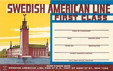 SWEDISH AMERICAN LINE FIRST CLASS  VINTAGE STEAMSHIP LUGGAGE LABEL