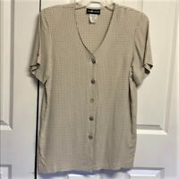 Sag Harbor Tunic Blouse Size M Checked Design