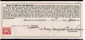 **USA = 5c Documentary Revenue on G. E. C. Stockholder document. 1925. (O0700j)