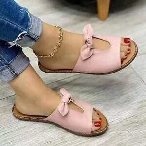 Women's Slipper Summer Slip On Flat Peep Toe Sandals Low Heel Bowknot Flip Flops
