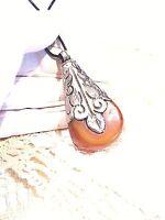 Compressed Amber Pendant Silver Bronze Vintage Tibetan Pendant  Choker Necklace
