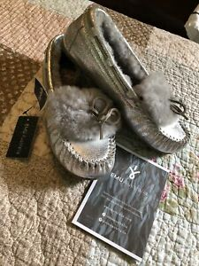 Emu Australia New Silver Metallic Slippers Leather Real SheepFur Lining AMITY 11