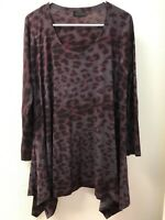 Nally & Millie Women's Animal Print Scoop Neck Pullover Tunic Top TUNIC L
