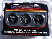 Super Pro #5015 Triple Gauge Set New Oil, Water, Amp  Chrome Panel 2 Inch Gauges