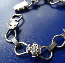 vintage 800 SILVER signed modernist fish design panel link bracelet -C268