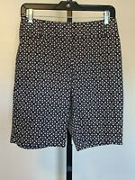 NWT New Ann Taylor LOFT Blue Beige Print Bermuda Shorts sz 00 Julie Style