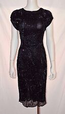 Vintage Black Blue Silk Sequin Evening Party Cocktail Flapper Dress Medium M 80s