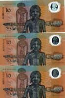 1988 AUSTRALIA UNC 3 $10 Dollar Note 2nd Release AB14639092,AB1556131,AB15283085