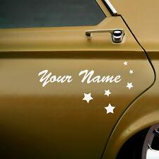 2 X Personnalisé Voiture Nom Autocollants avec des formes-Pinceau Script Style