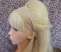 PLAIN LIGHT BEIGE COTTON FABRIC HEAD SCARF HAIR BAND SELF TIE BOW 50s 60s STYLE