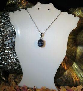 Dramatic Genuine natural Blue Star Sapphire 5ct. oval cabochon silver pendant 🌠