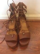 "Coach Women's Gladiator Wedge Heel ""Barkley"" Tan Leather  Sandals Sz 8M New!"