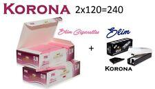 Empty Cigarette 2 BOX KORONA  PINK SLIM 2x120 +1 slim filling machine