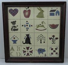 Vintage Folk Art Theorem Painting, Cat, Pig & Duck Motifs
