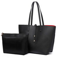 Ladies Designer PU Leather Black Handbag Reversible Two In One Contrast Tote Bag