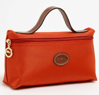 Longchamp Le Pliage Cosmetic Case bag Nylon pouch ~Orange~ NIP